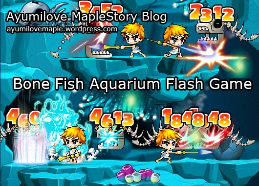 Ayumilove vs Aquarium Monsters in Bone Fish MapleStory Flash Game